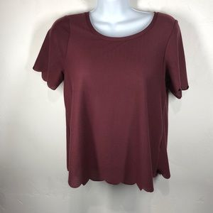 Topshop maroon scallop edge details top size 4